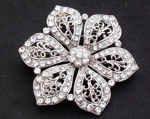 Wedding Brooches - Vintage Style Flower Brooch, Rhinestone & Crystal, Natalie