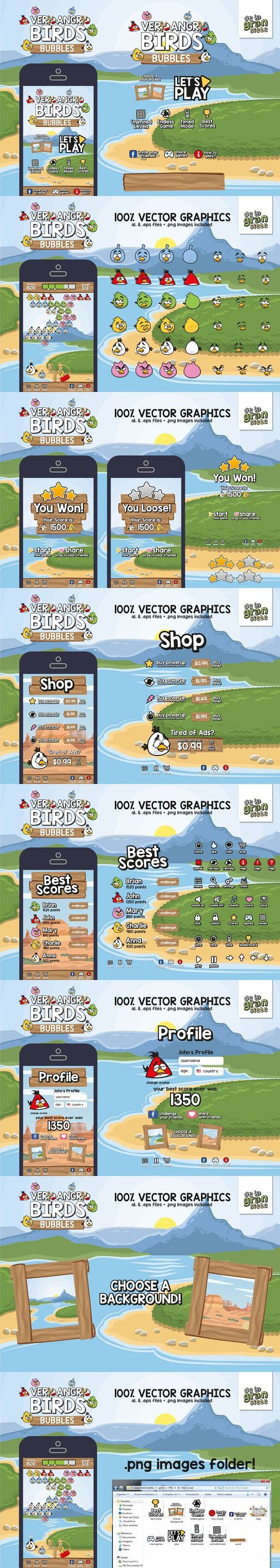 Very Angry Birds Bubbles Game GUI As. UI Elements