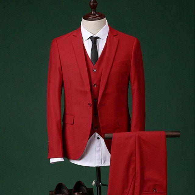Custom Made Groomsmen Notch Lapel Groom Tuxedos Pink/Red Men Suits Wedding Best Man Blazer (Jacket+Pants+Tie+Vest) C17