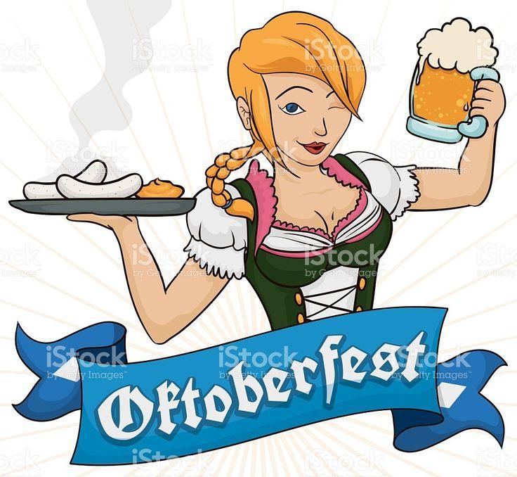 Pretty Blonde Waitress in Dirndl Serving Traditional Sausages of Oktoberfest