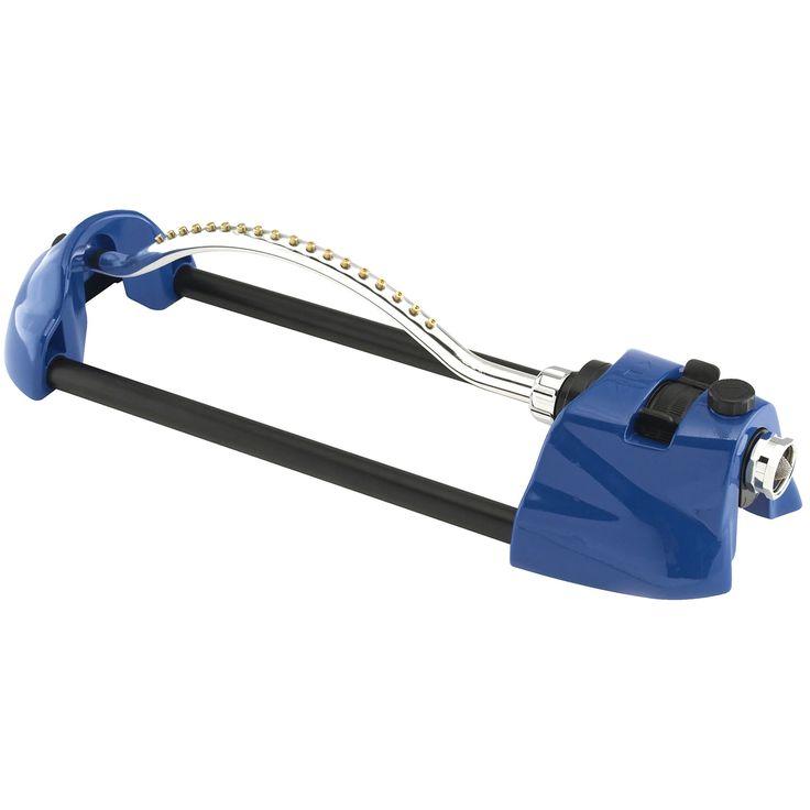 Dramm 10-15005 Blue Premium Metal (Grey) Oscillating Sprinkler W/Brass Nozzle Jets (Oscillating Sprinklers) (Plastic)