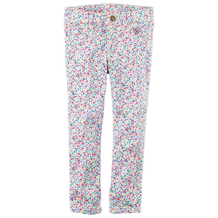 Toddler Girl Carter's Floral Skinny Stretch Twill Pants, Size: 4T, Ovrfl Oth