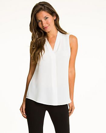 Crêpe de Chine Built-Up Neckline Blouse