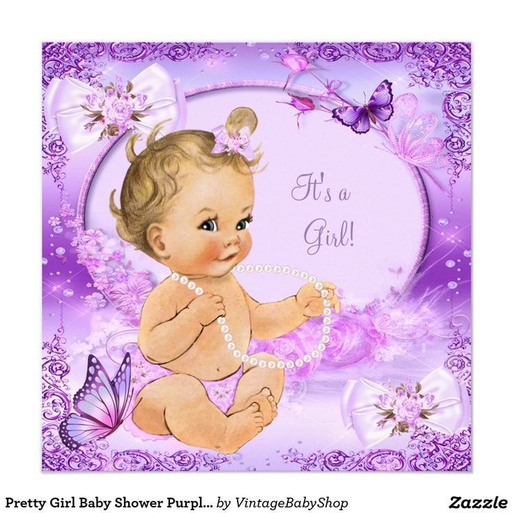 Pretty Girl Baby Shower Purple Butterfly Blonde Invitation