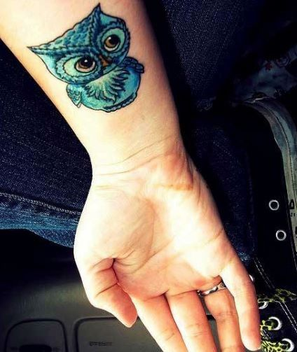 Owl Tattoo with Corbin's name under it!