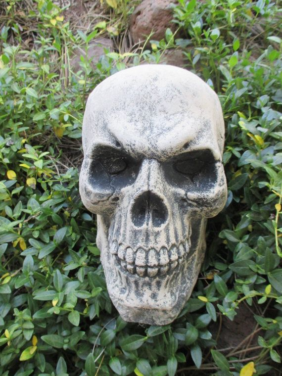 Concrete Skull Garden Statue Scary Macabre Halloween Yard Decor Creepy  Gothic Psychobilly Punk