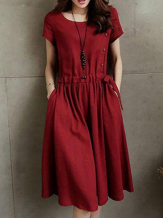 Linen Crew Neck Casual Midi Dresses