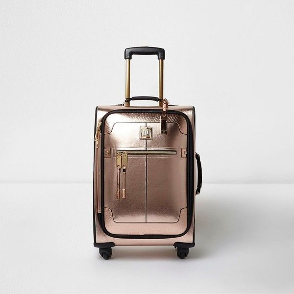 River Island Rose gold metallic four wheel suitcase ($170) ❤ liked on Polyvore featuring bags, luggage, bags / purses, gold, suitcases and women