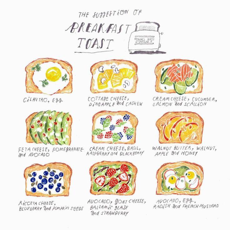 """김혜빈 on Instagram: """"Homemade breakfast toast illustration here!  담백한 그림을 그려보자. @buzzfeedtasty toasts suggestion"""""""
