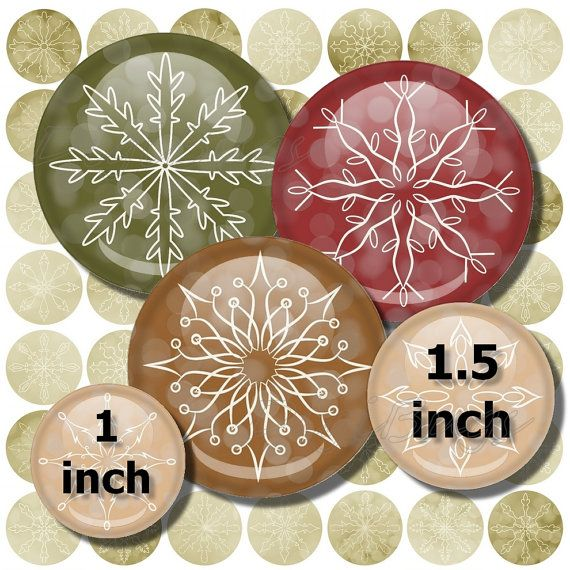 Christmas Jewelry Images, Digital Collage Sheet, 1 inch & 1.5 inch Circles, Printable Snowflakes, Christmas Colors, Snowflake Decoupage