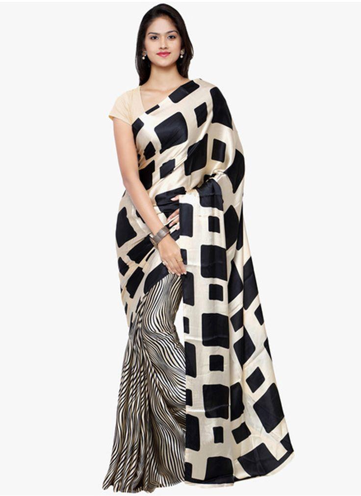 Cherish Off White And Black Crepe Silk Printed Indian Designer Saree At Best Price By Uttamvastra - Try Something New Today