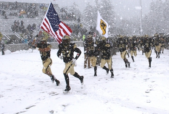 It started to snow at noon, just over three hours before Army's scheduled 3:30 p.m. start at Michie Stadium against the Patriot League's Fordham. The prediction was for three to six inches of snow north and west of I287, the beltway that circles the New York metropolitan area and cuts across the Tappan Zee Bridge. Army Wins 55-0 over Fordham.