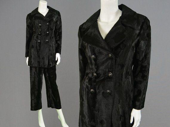 Vintage 60s 70s Faux Fur Pant Suit Trouser Suit Two by ZeusVintage
