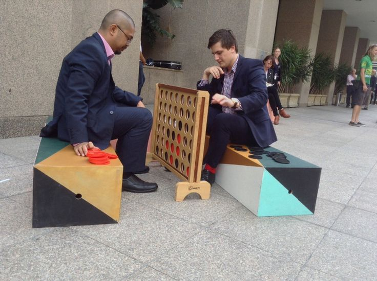 It takes two to connect four! A fun, LQC way to triangulate interests around a common object in Sydney, Australia. #Placemaking #LQC #GiantGames