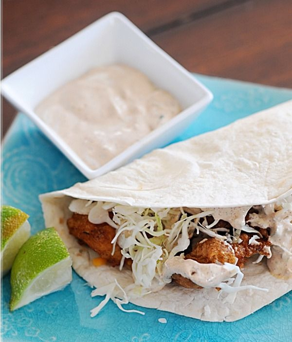 These are just delicious.  The Baja sauce is perfect with the crispy chunks of fish and cabbage slaw.