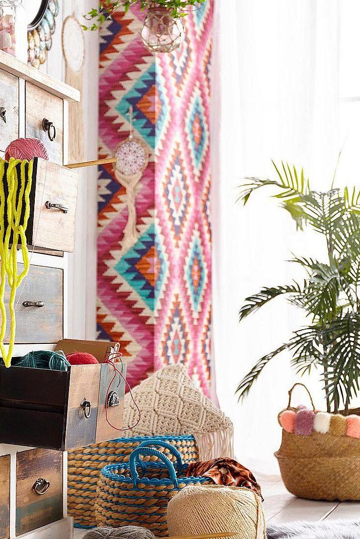 Außergewöhnlich Ethno Möbel Referenz Von Bloomingville Korb Mit Dekorativen Bommeln | Wohntrend