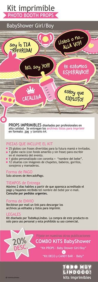 Kit Imprimible - Photo Booth Props - Baby Shower - $ 79,00 en MercadoLibre