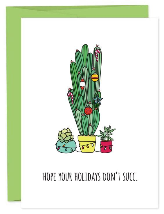 Hope Your Holidays Don't Succ Funny Succulent Christmas Card | Paper Plants | Plant Lady Holidays