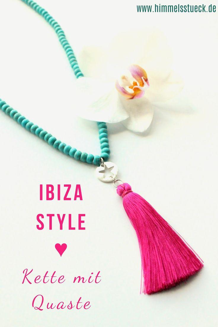 DIY, Quasten-Kette, Tassel-Kette, Ibiza Style, Boho, Ethno, selbst gemacht, selber machen, Schmuck basteln, Schmuck selber machen, Sommerschmuck, Kette, lange Halskette, Himmelsstück