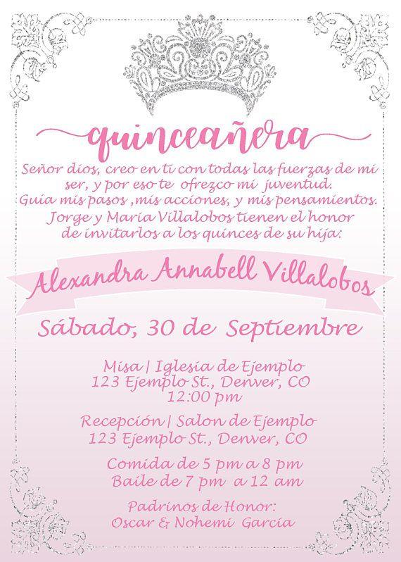 Invitación De Quinceañera En Rosita Pink Xv Años