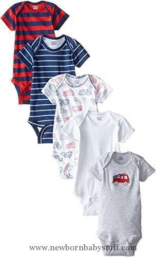 Baby Boy Clothes Gerber Baby-Boys Newborn Fire Truck 5 Pack Onesies, Fire Truck, New Born