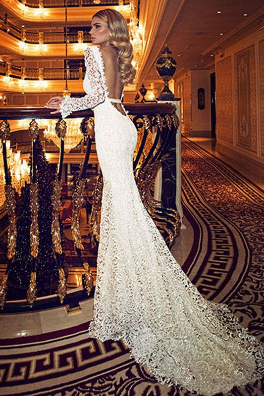 New Elegant Mermaid Wedding Dress Long Sleeve Lace Backless Bridal Gown