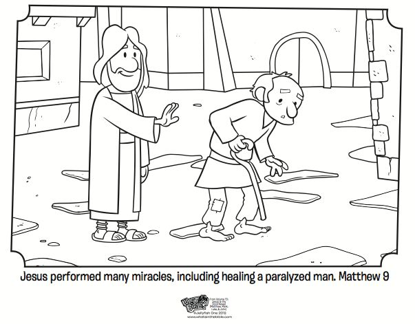 Kids Coloring Page From Whats In The Bible Showing Jesus Healing A Crippled Man Matthew Volume Is Good News