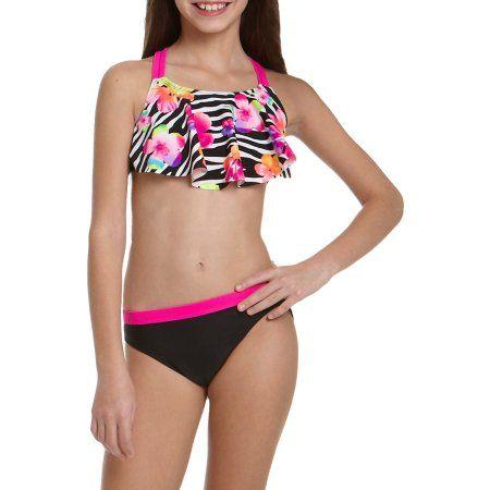 OP Girls' Zebra Punch Bikini Swimsuit, Black
