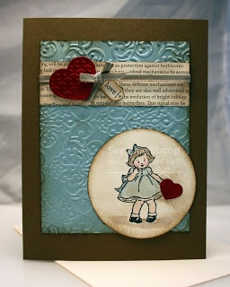 Stampin' Up! Greeting Card Kids with Vintage Wallpaper Embossing folder and First Edition Specialty Paper Pack.