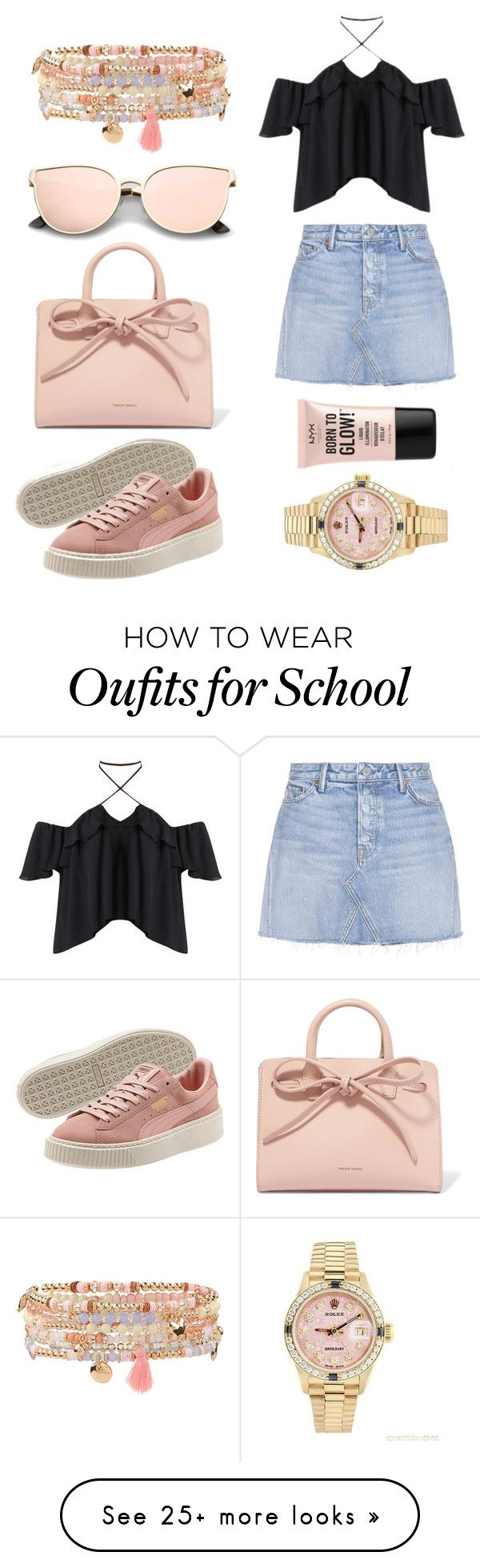 """""""School """" by milsky on Polyvore featuring GRLFRND, Mansur Gavriel, Rolex, NYX and Accessorize"""