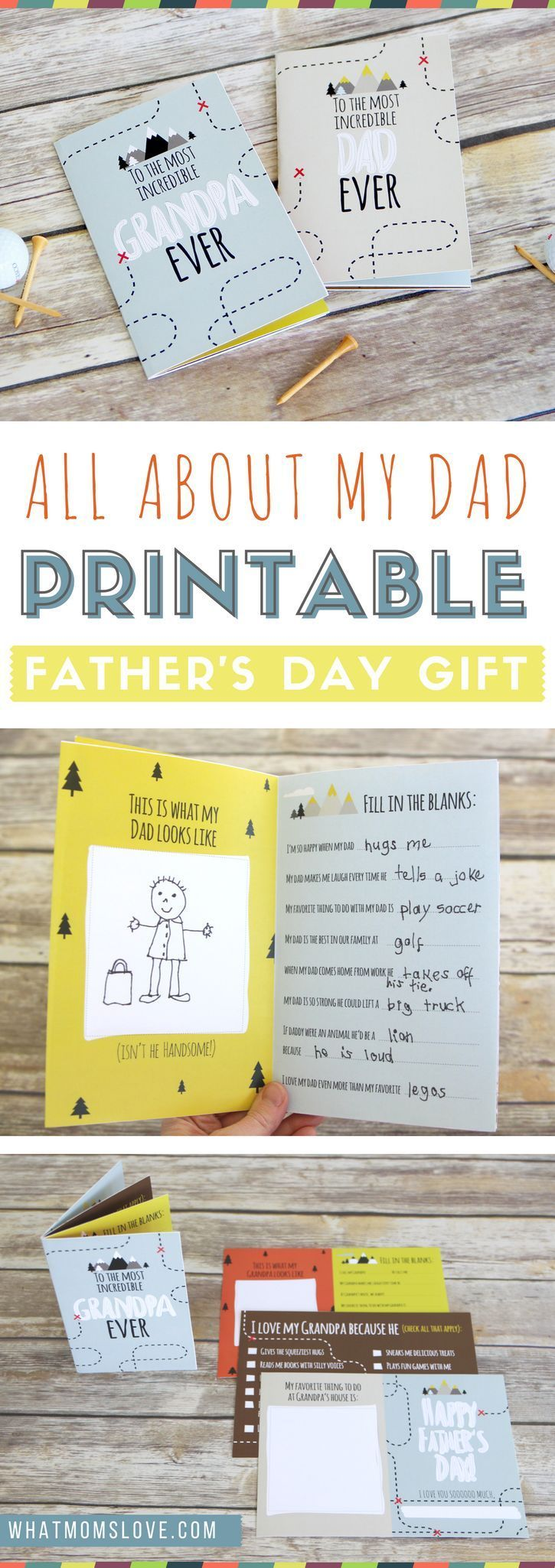 Free Printable Fathers Day Card | All About Dad or Grandpa homemade book for kids to make - a unique personalized gift idea. Includes a fun questionnaire, coupons for Dad, and space to draw and color. The perfect DIY meaningful gift for Fathers Day.
