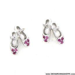 Tutù Gioielli orecchini in argento con zaffiri bianchi e rossi  modello srordp-scarp www.demarchigianotti.com