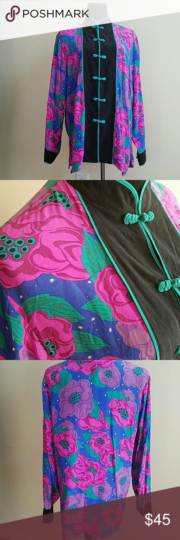 Bob mackie silk sky floral print kimono top Sky with star background with beautiful purple and fuschia flowers complement this fabric knotted button down top. Pleading at the sleeves  I am a medium and this fits amazing with a pair of jeans and cute flats.  28 inches long  25 inch sleeves   Negotiable, but going to be a hard piece for me to let go of. Bob Mackie Tops Camisoles