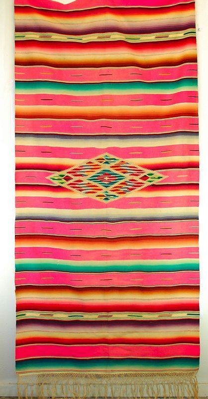 ♥ vintage rare pink mexican serape. Love the colors qouls love this for a drape or curtain over a laundry room or open shelving!