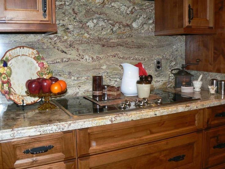 Great Crema Bordeaux Granite Countertop With Full Height Backsplash