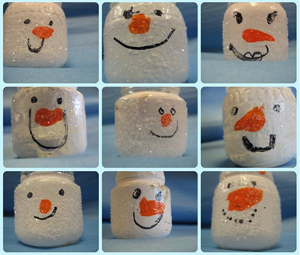 Glass snowmen. Обычные баночки из под детского питания (или любые другие) можно…