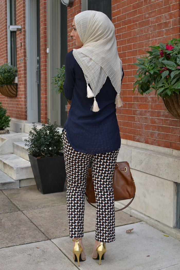 geometric h&m pants, work attire, business casual, hani hulu, hijabi fashion, tassel hijab,