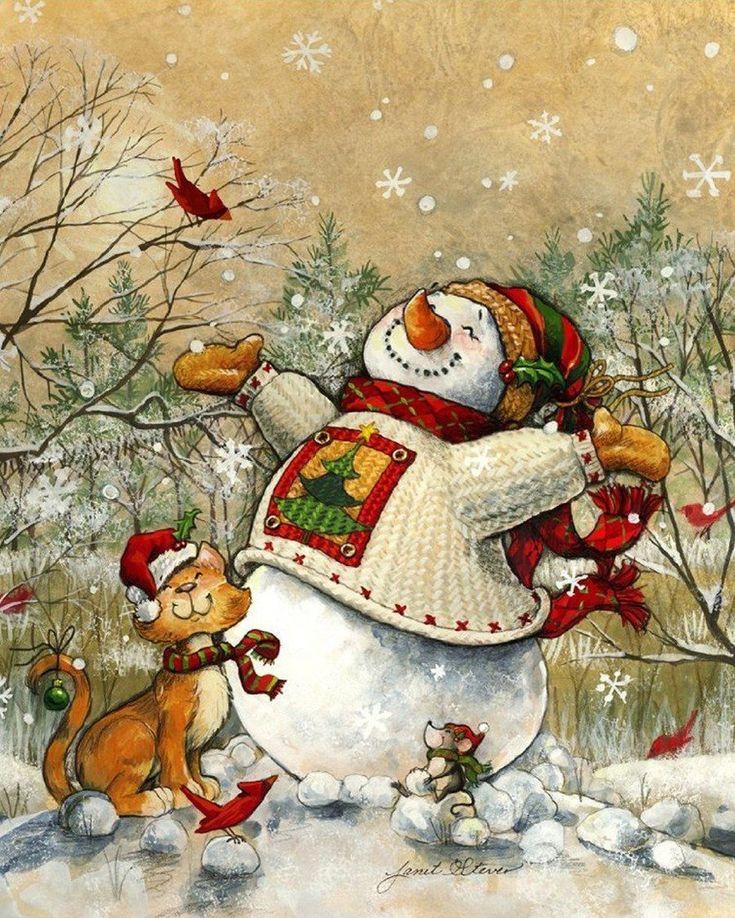 Снеговик на картинках и открытках, картинка для