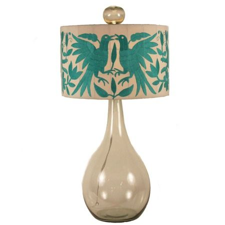 Love the bird print on this lamp