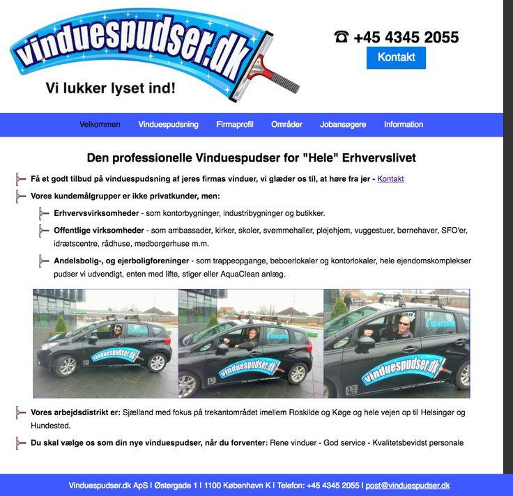 """Vinduespudser.dk Den professionelle Vinduespudser for """"Hele"""" Erhvervslivet."""