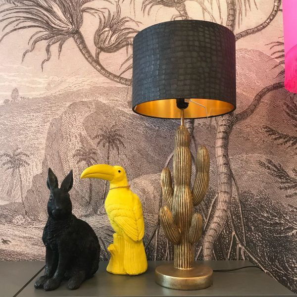 Black Mock Croc Lampshade With Gold Lining Make A Statement With Your Interiors With Our New Collection Of In 2020 Quirky Table Lamp Handmade Lampshades Quirky Decor