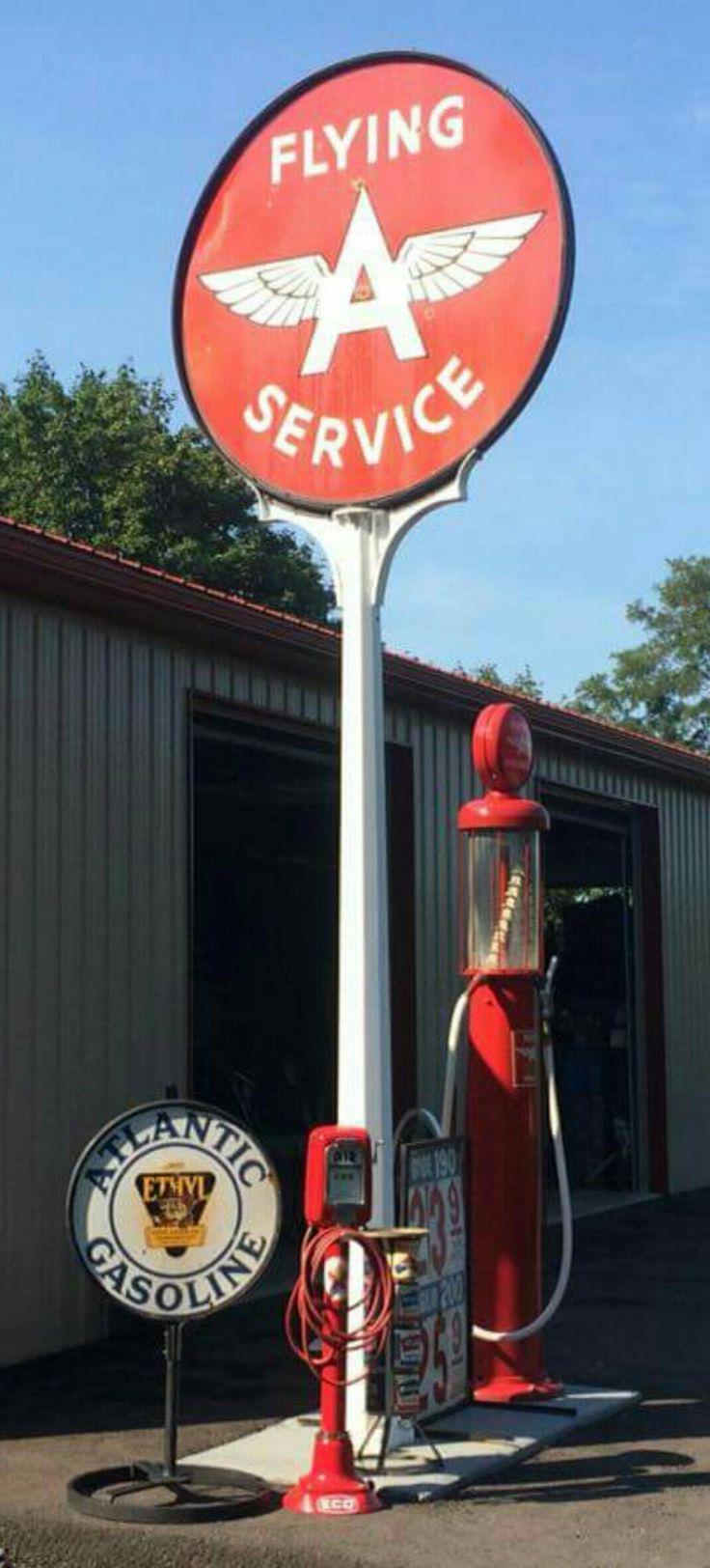 Rare Flying A Gasoline Porcelain Sign - Original Pole