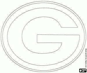 Green Bay Packers logo, american football team of the NFC North Division, Lambeau Field, Green Bay, Wisconsin coloring page