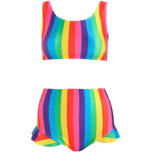 Rainbow Stripes Bikini Set Crop Top Frill Bottom Brief High Waist... ($45) ❤ liked on Polyvore featuring swimwear, bikinis, silver, women's clothing, swim bikini, high waisted swim wear, high-waisted swimwear, high waisted two piece and high-waisted bikinis