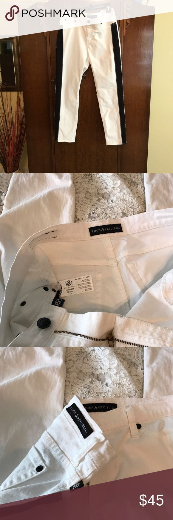 Rock & Republic White Jeans REDUCED PRICE NWOT white with black trim on each side front.  Style:  Carnival.  These are in perfect condition.  98% cotton, 2% spandex.  Inseam is 26.  These are ankle pants and color blocking makes them slimming.  Perfect for summer with strappy black high heels! Rock & Republic Jeans Ankle & Cropped