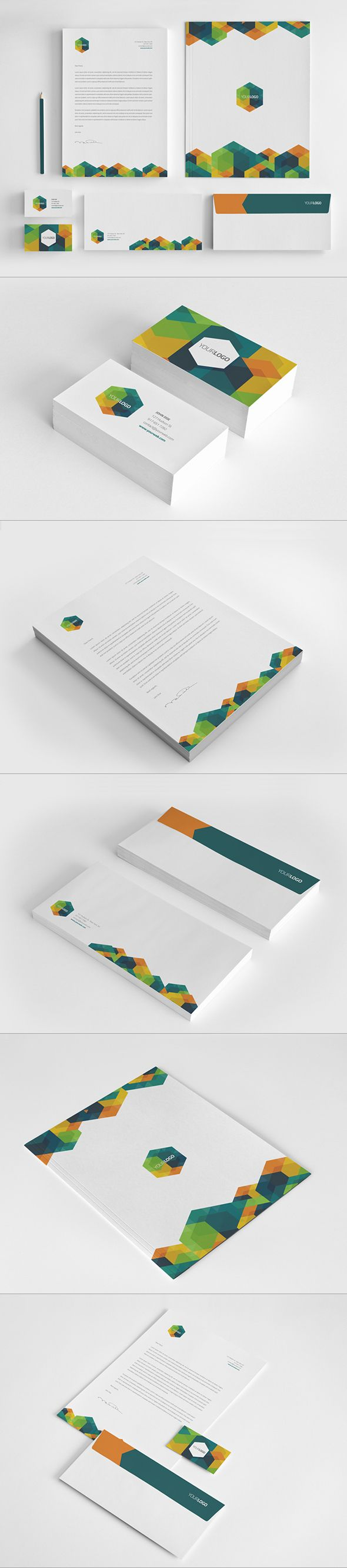 Hexo Stationary Design by Abra Design, via Behance. I like the geometric shapes, but not so much the colour sheme.