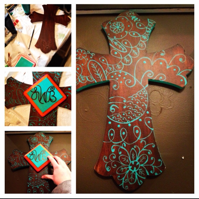 My cousin's hand painted wooden cross.  She is family so I plan on having her make one for Lydia so I don't have to be crafty :)