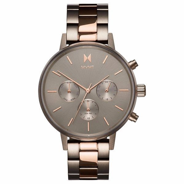 The Women's Nova Collection from MVMT Watches was named after the stars, and designed for those who follow them brought to you for under $200. The Women's MVMT Watch, Orion, from the Nova Collection, is a Brushed Titanium Stainless Steel watch featuring a precision engineered quartz timing mechanisms, a hardened mineral crystal face, a bold 38mm brushed titanium case, sleek rose gold two tone stainless steel band, and a titanium dial and custom rose gold markers.Get it for $150.