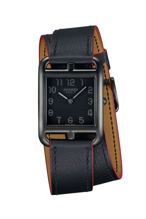 Continuing the celebration of the 25th anniversary of the Hermès Cape Cod, the latest iteration of the quintessential watch has gone to the dark side with a killer matte black brushed steel case. The matching black strap, edged in red as a nod to a preppy New England vibe, keeps it ever-so-casual.