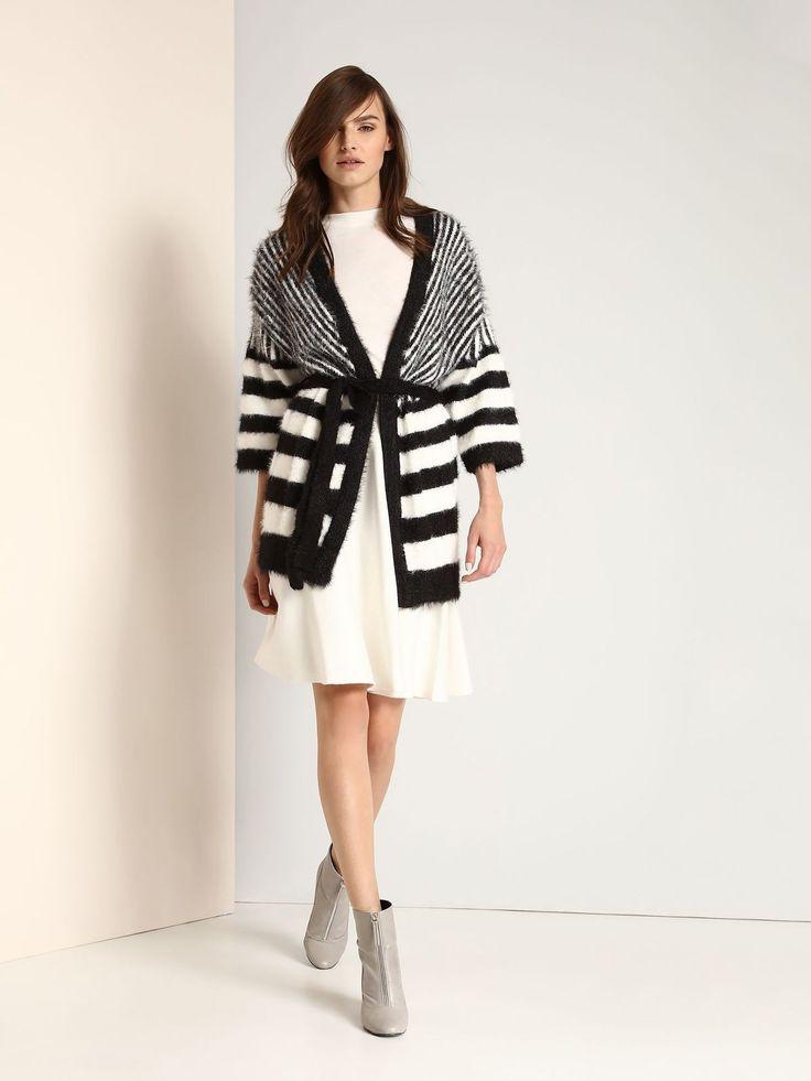 Ladies Black and White Striped Cardigan - Top Secret - Fashionhub Cardigans.
